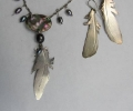 Feather Necklace and Earrings with Black Pearls and Paua Shell