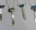 Feather Pendants with Lapis, Turquoise, Pearls, Labradorite and Shell